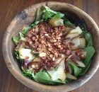 Date and Candied Almond Green Salad with Lemon Mustard Vinaigrette