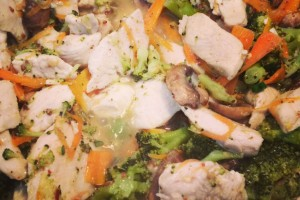 Ginger Chicken with Mushroom and Broccoli